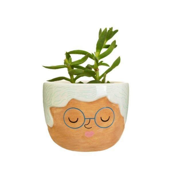 Mini Rose Face Ceramic Planter