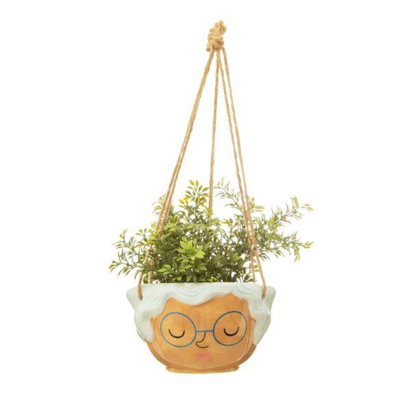 Rose Face Ceramic Hanging Planter