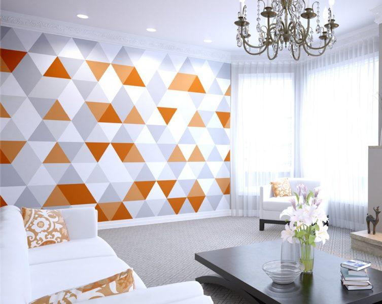 Bright Orange Geometric Wall Mural Wallpaper