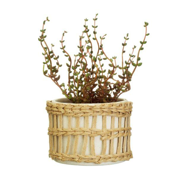 Speckled White Stoneware Planter with Woven Sleeve