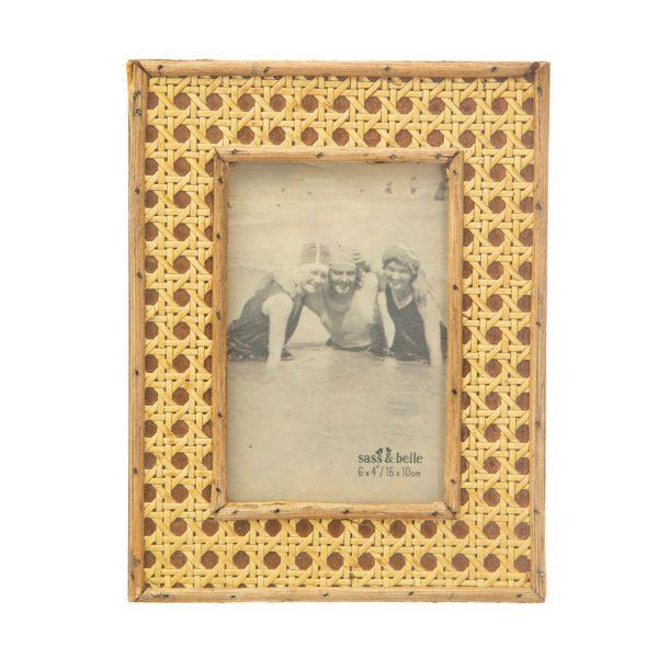 Open Weave Rattan Picture Frame 6x4""