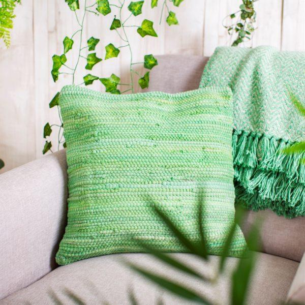 Green Chindi Rag Cushion