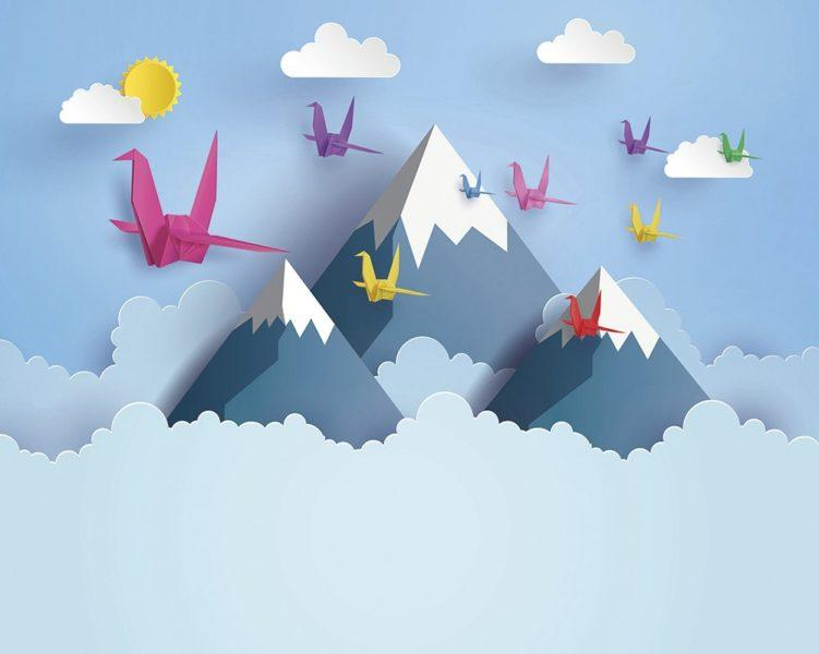 Origami Mountains 3D Wall Mural Wallpaper
