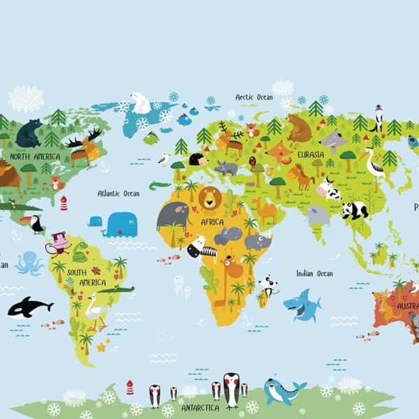 The Whole Wide World Map Wall Mural Wallpaper
