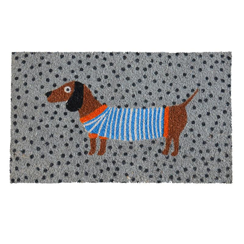 Sausage Dog Grey Doormat