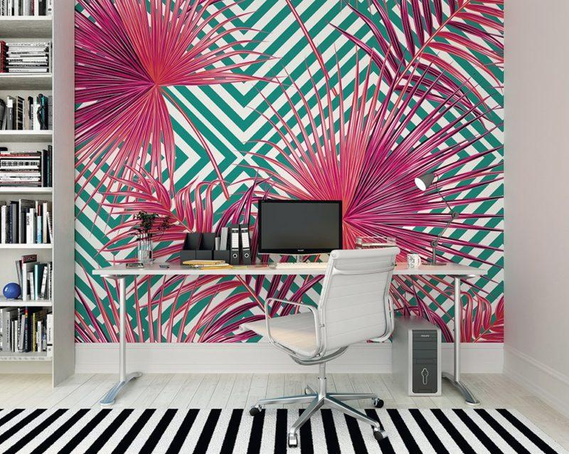 Pink Palm Leaves Wall Mural Wallpaper