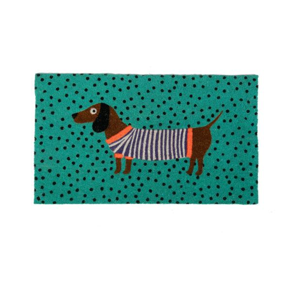Sausage Dog Green Doormat