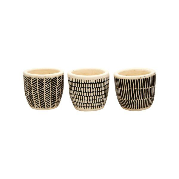 Scandi Boho Mini Cement Planters Set of 3
