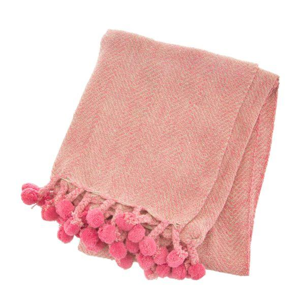 Pink Herringbone Blanket Throw