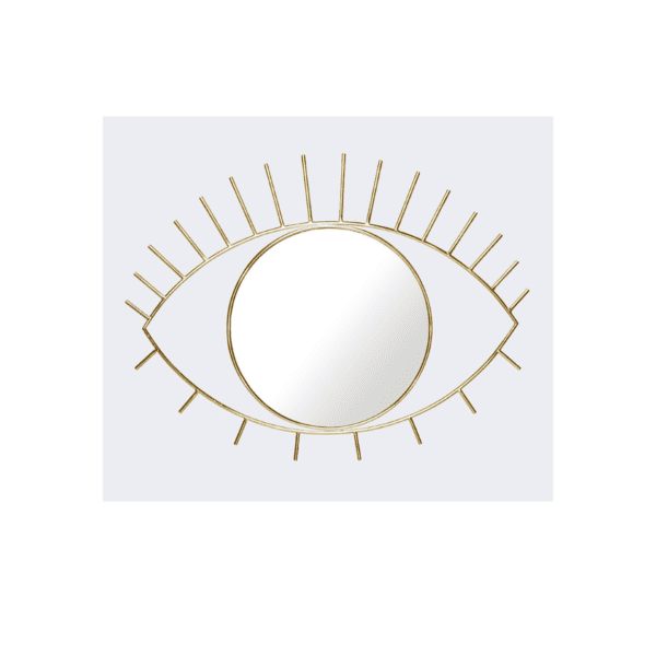 Cyclops Eye Shape Gold Wall Mirror