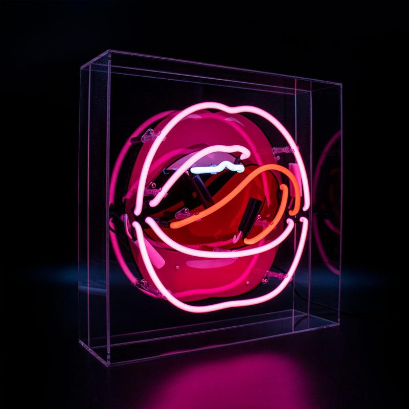 Mouth Acrylic Neon Light Box with Graphic