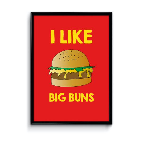 Typography Art Print - I Like Big Buns