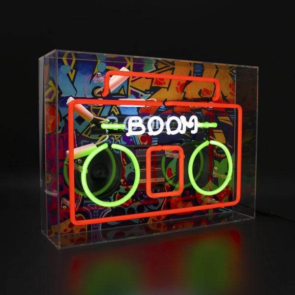 Boombox Large Acrylic Neon Light Box with Graphic