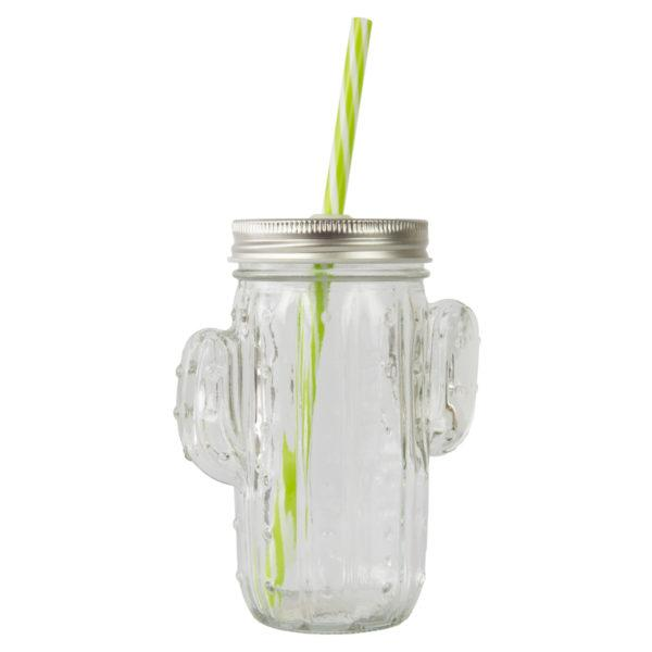 Clear Cactus Drinking Glass With Straw
