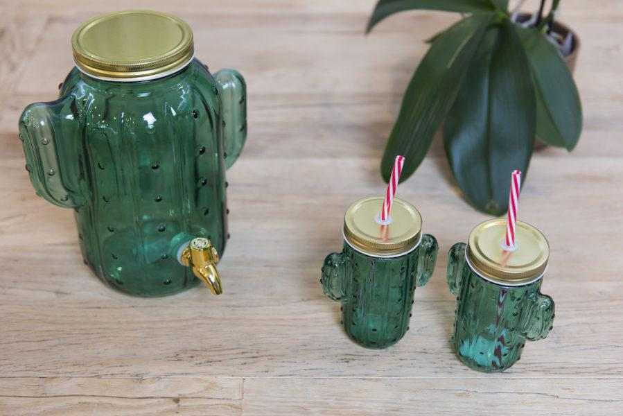 Green Cactus Drinking Glass With Straw