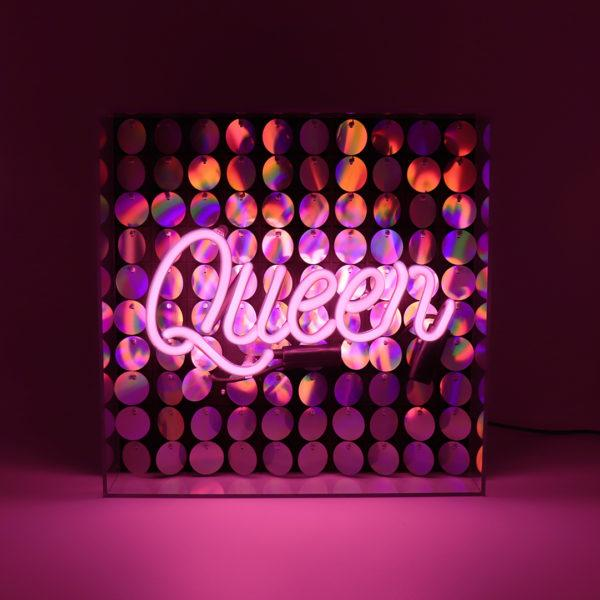 Queen Acrylic Neon Light Box With Sequins