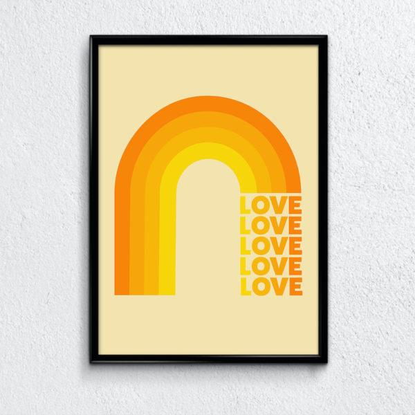 Typography Art Print - Rainbow Love Pink