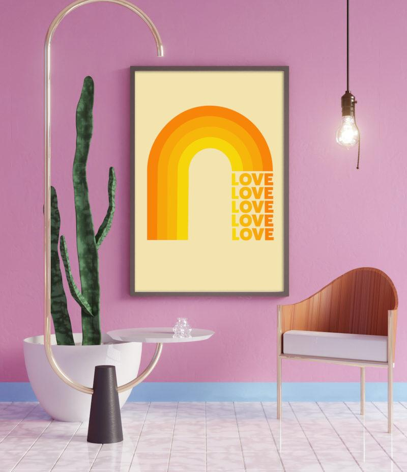 Typography Art Print - Rainbow Love Yellow
