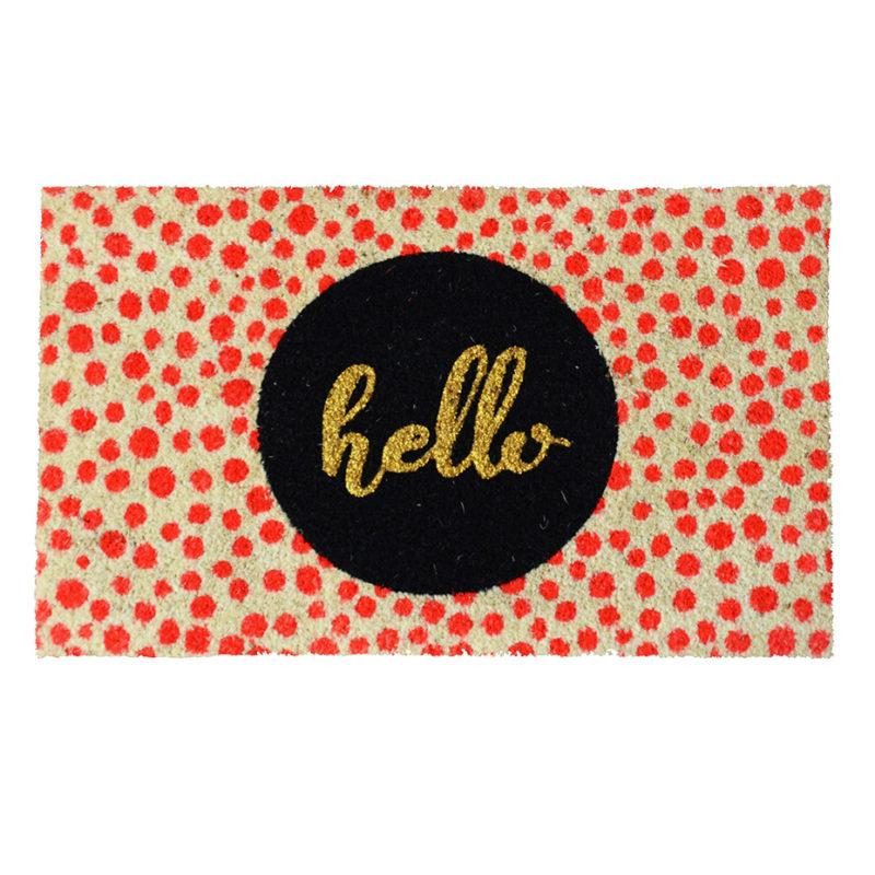 Hello Neon Red Spots Doormat