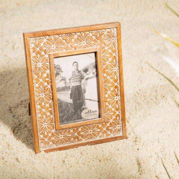 Geo Floral Carved Picture Frame 6x4""
