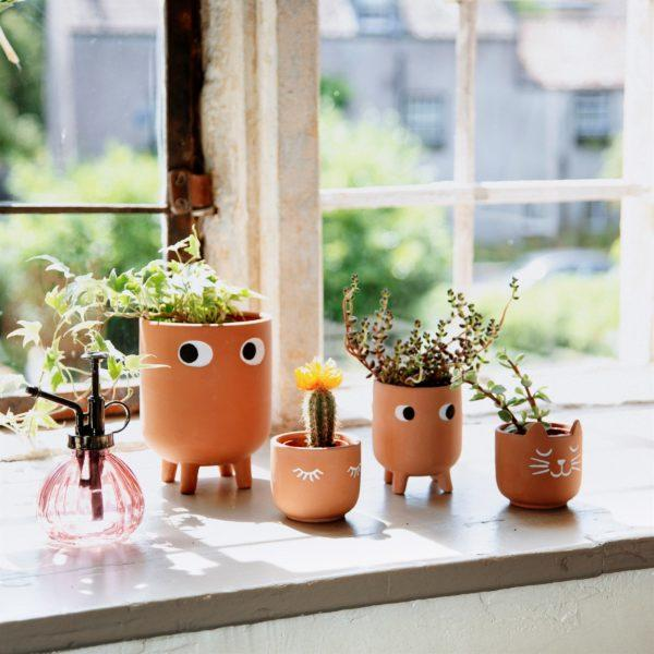 Mini Eyes Shut Terracotta Planter