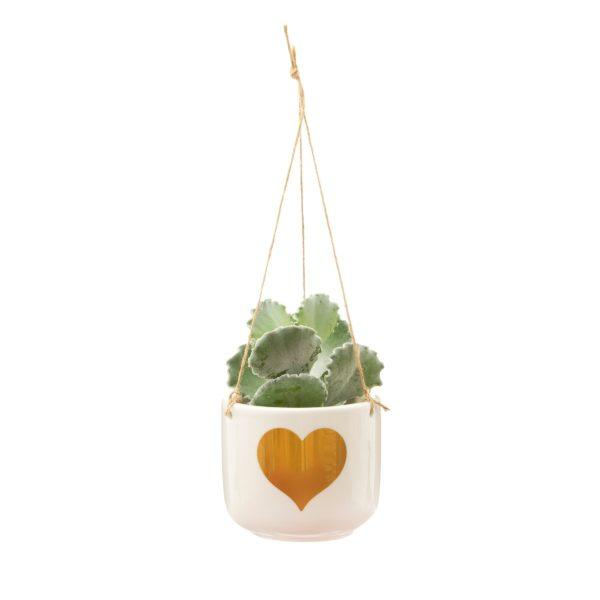 Gold Heart Hanging Planter