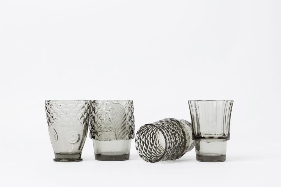 Koifish Stacking Glasses Set of 4 - Warm Grey