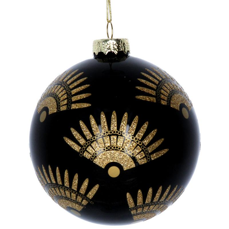 Art Deco Fans Black Glass Christmas Tree Bauble