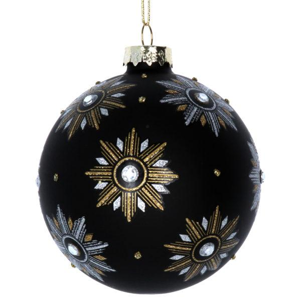 Art Deco Stars Black Glass Christmas Tree Bauble