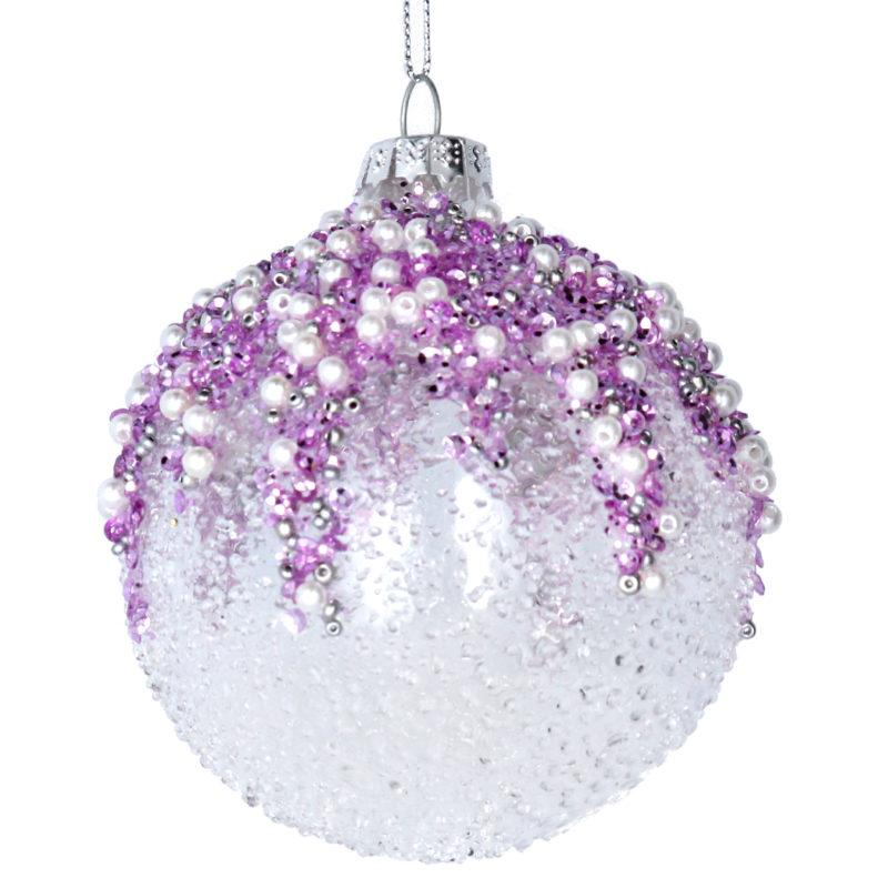 Pink & Lilac Beaded Glass Christmas Tree Bauble