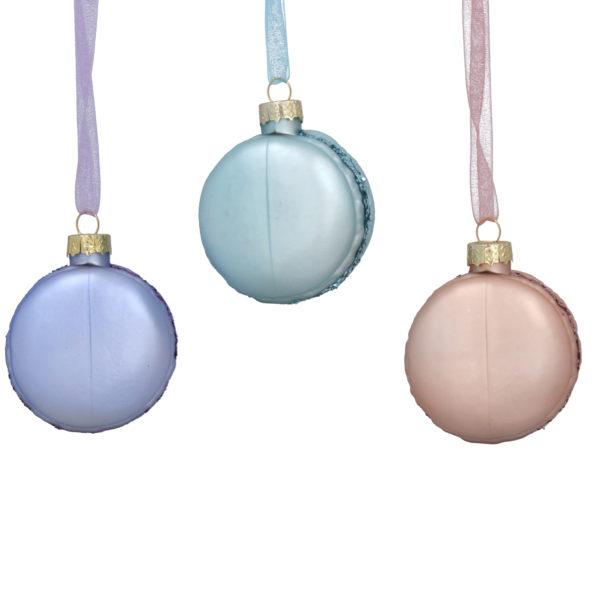 Pastel Glass Macaroon Tree Decoration - Set of 3