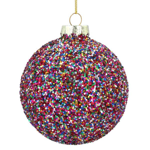 Multi Colour Glitter Glass Christmas Tree Bauble