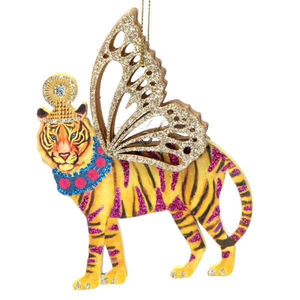 Fretwork Wooden Tiger with Wings Christmas Decoration