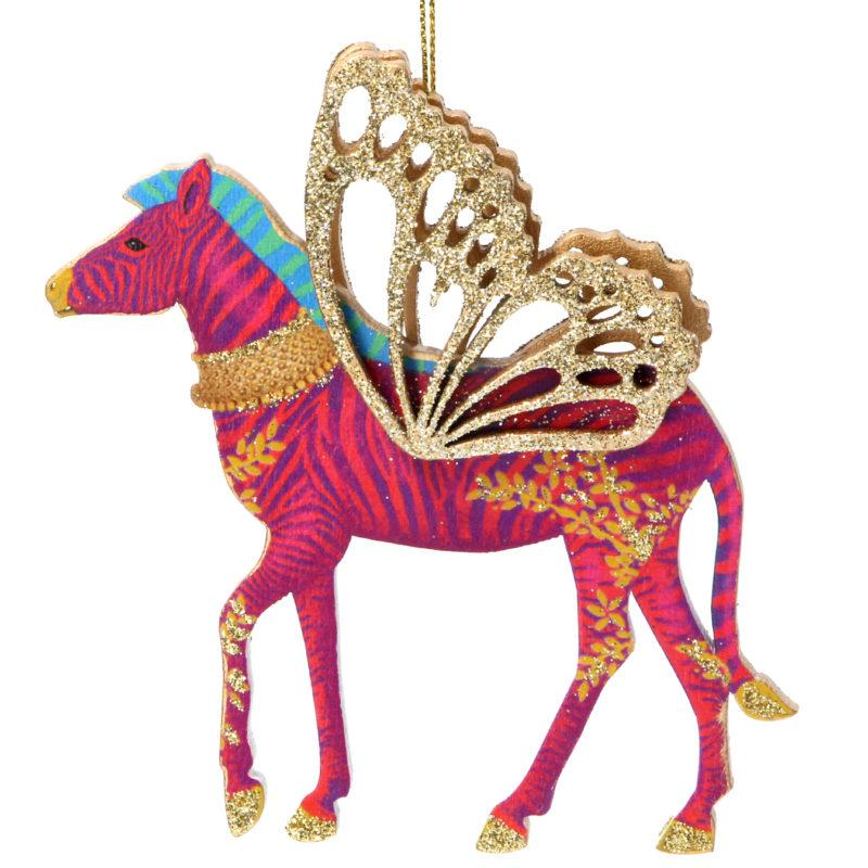 Fretwork Wooden Zebra with Wings Christmas Decoration