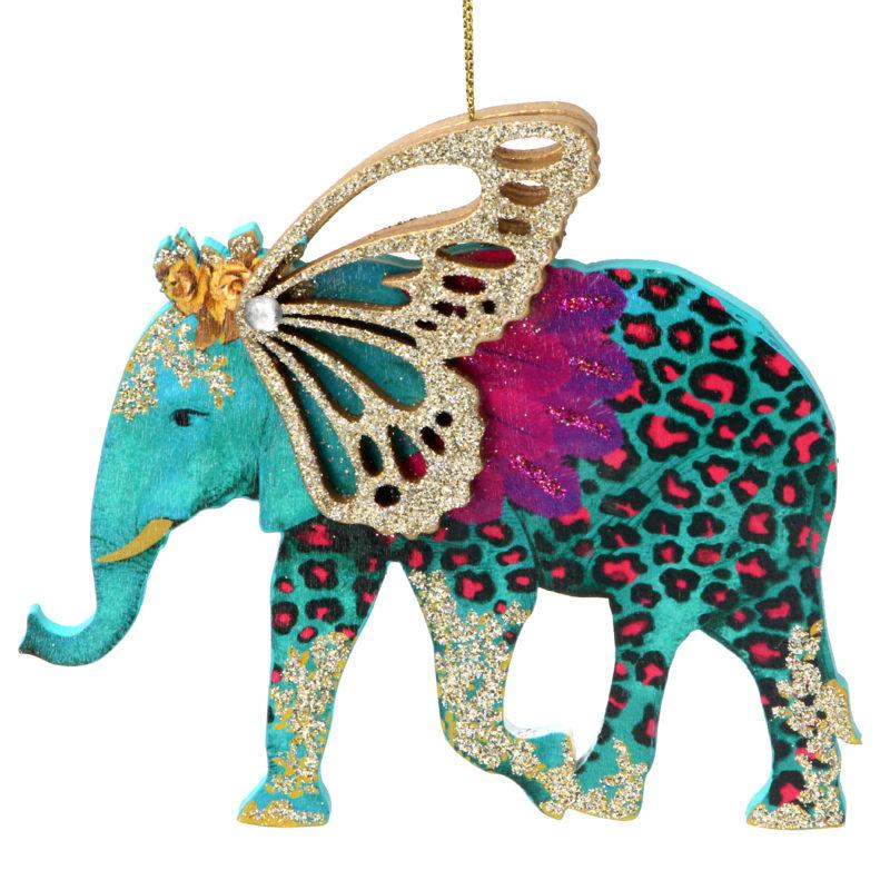 Fretwork Wooden Elephant with Wings Christmas Decoration