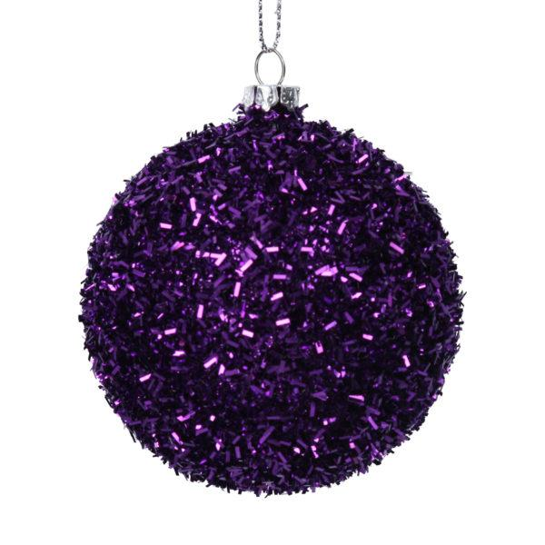 Purple Tinsel Christmas Tree Bauble