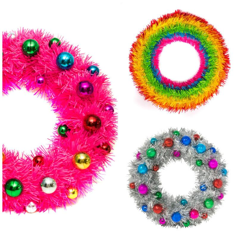 Rainbow Tinsel Door Wreath