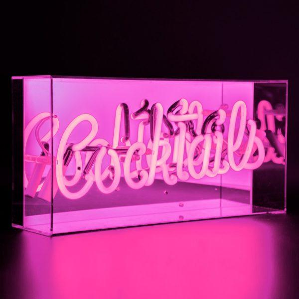 Cocktails Acrylic Neon Light Box - Pink