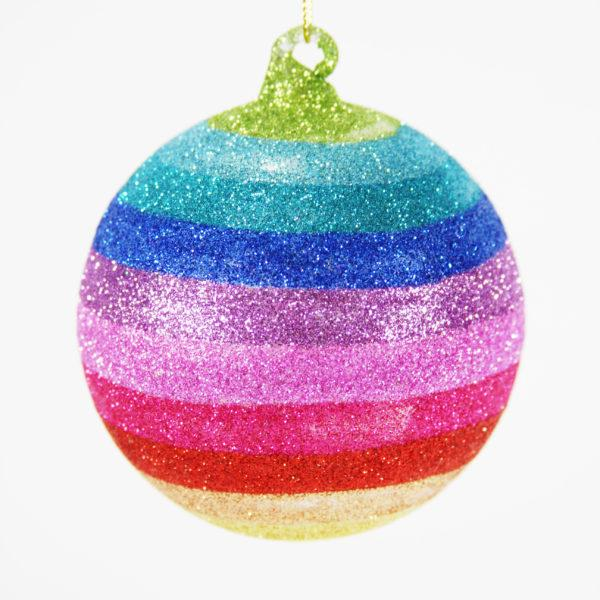 Large Glitter Rainbow Colour Glass Bauble