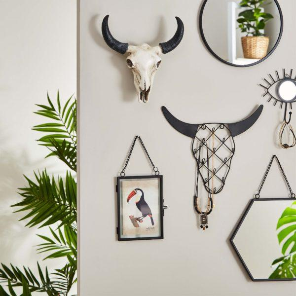 Black Hexagon Wall Mirror