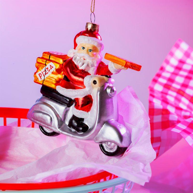 Pizza Delivery Santa on a Scooter Glass Decoration