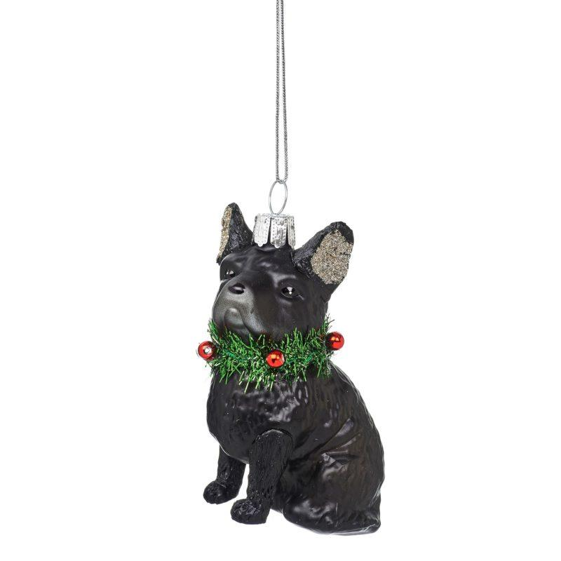Festive French Bulldog Glass Decoration
