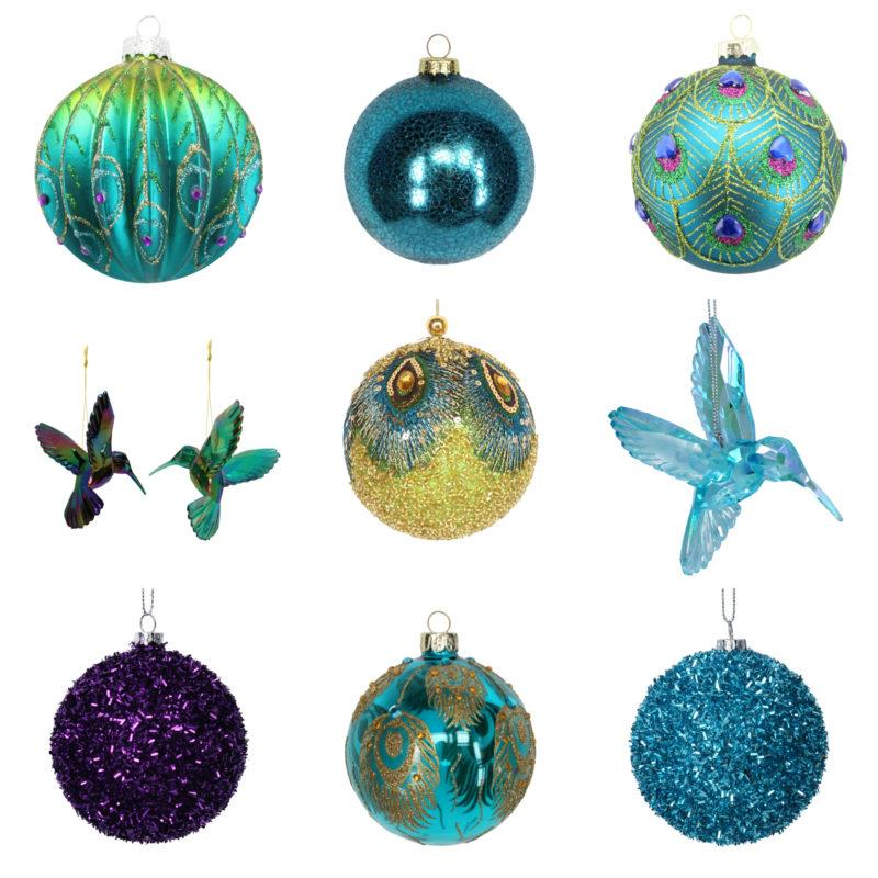 Turquoise Tinsel Christmas Tree Bauble