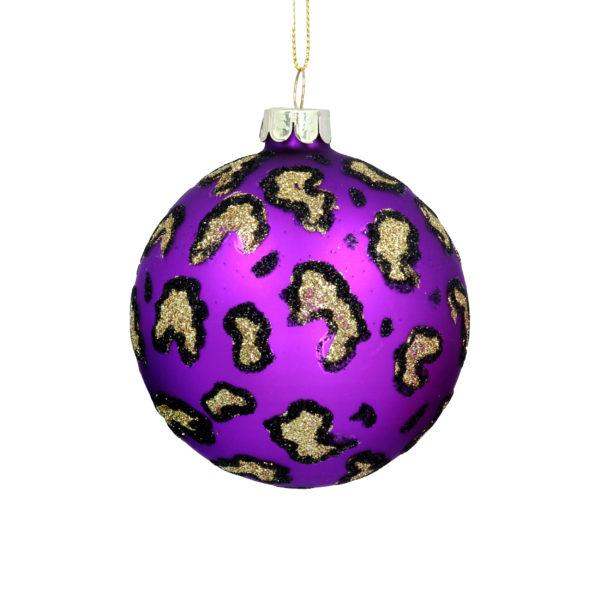 Purple Leopard Print Glass Christmas Tree Bauble