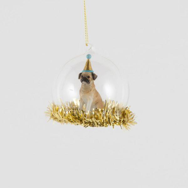 Party Pug Tinsel Dome Glass Decoration