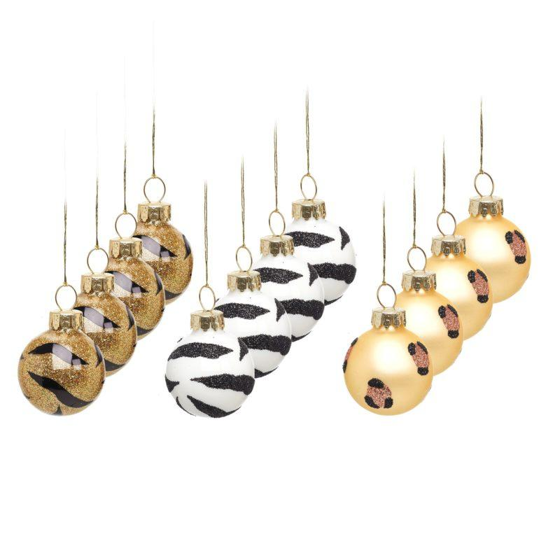 Mini Leopard & Zebra Print Baubles Set of 12