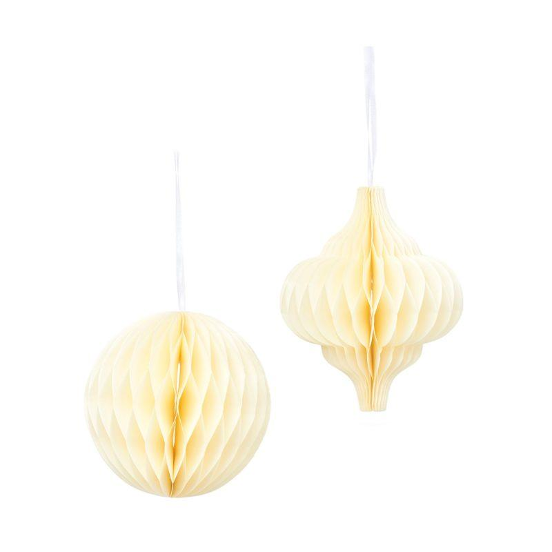 White Honeycomb Paper Hanging Decoration Set of 2