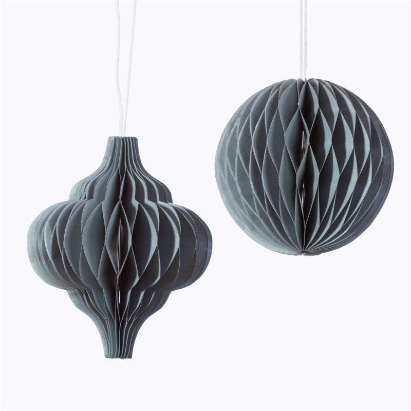 Grey Honeycomb Paper Hanging Decoration Set of 2