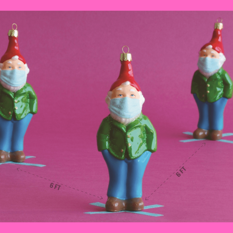 Glitter Gnome with Face Mask Christmas Decoration