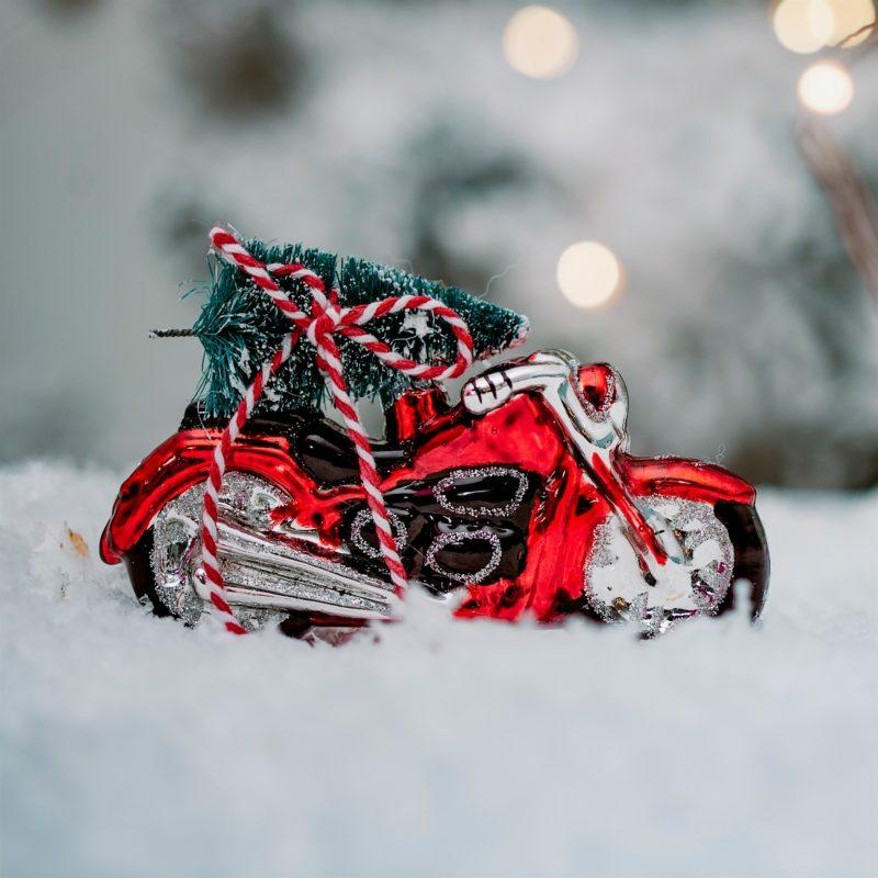 Red Motor Bike with Tree Glass Bauble